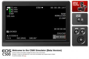 Canon c500 menu simulator