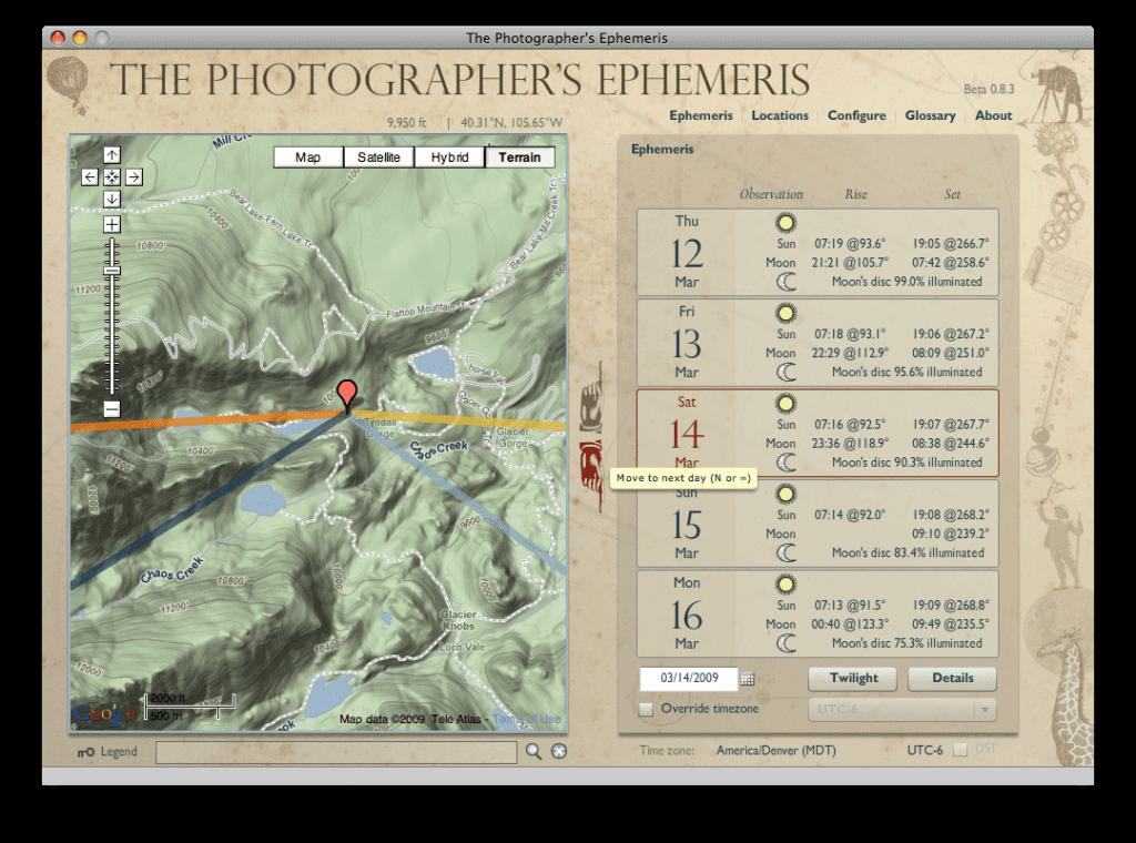 The Photographer's Ephemeris, μία χρήσιμη φωτογραφική εφαρμογή για όλους τους φωτογράφους