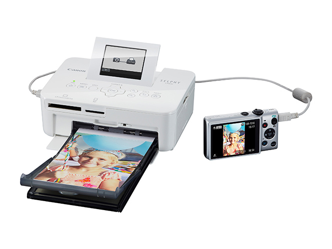 SELPHY CP820 Packshot FSL LCD up paper tray camera connected White