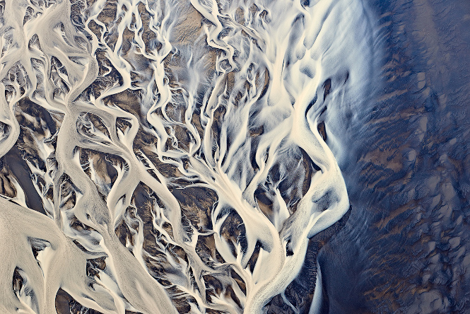 Aerial image of river delta in Iceland.