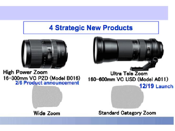 Η Tamron θα παρουσιάσει μέχρι το 2016 δύο νέους φακούς, ένα ευρυγώνιο zoom και ένα standard zoom