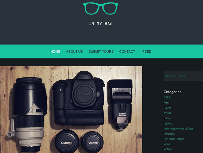 InMyBag, ιστοσελίδα επίδειξης φωτογραφικού εξοπλισμού για να χορταίνει το μάτι σου