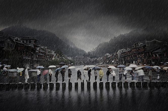 Rain in an Ancient Town
