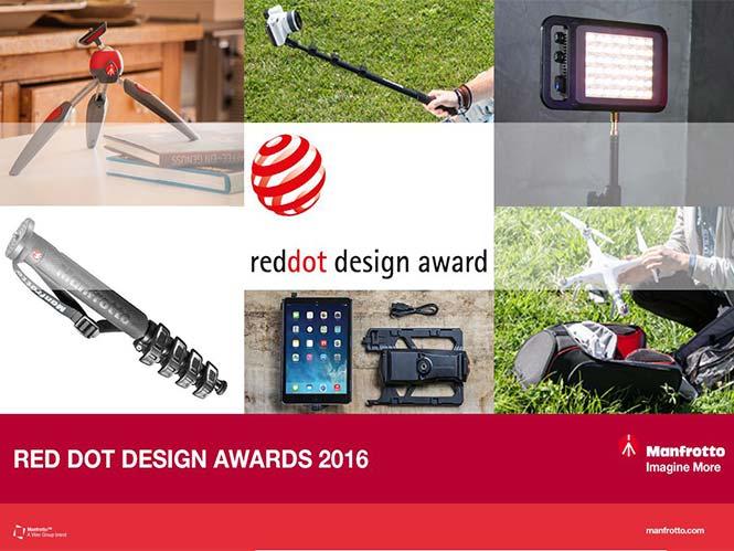 Manfrotto: κέρδισε πέντε Red Dot Design βραβεία για τα προϊόντα της