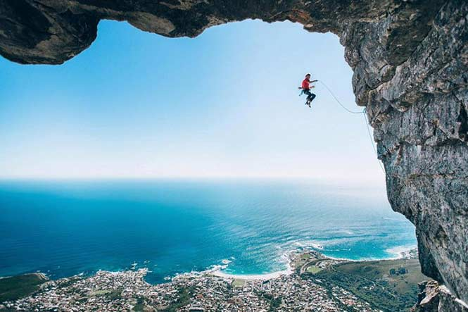 Wings: Micky Wiswedel, South Africa with his shot of climber Jamie Smith mid-fall as he attempts a new route on Table Mountain, Cape Town.