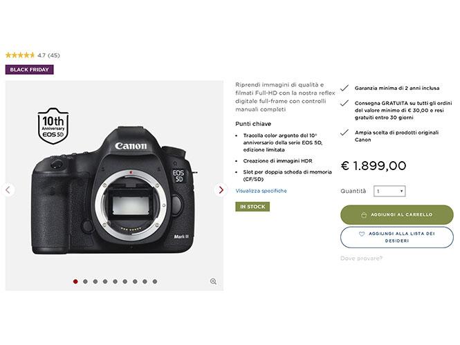 H Canon πουλάει online στην Ευρώπη την Canon EOS 5D III στα 1899 ευρώ (Black Friday)