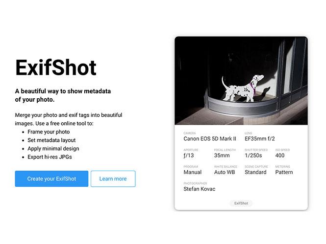 ExifShot: Φτιάξτε εικόνες με τις φωτογραφίες σας και τα EXIF στοιχεία τους!