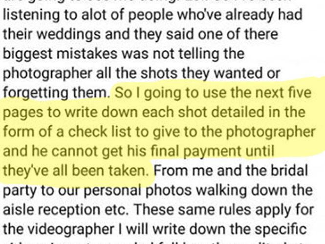 Νύφη ψάχνει φωτογράφο που θα βγάλει συγκεκριμένες φωτογραφίες, αλλιώς δεν θα πληρωθεί