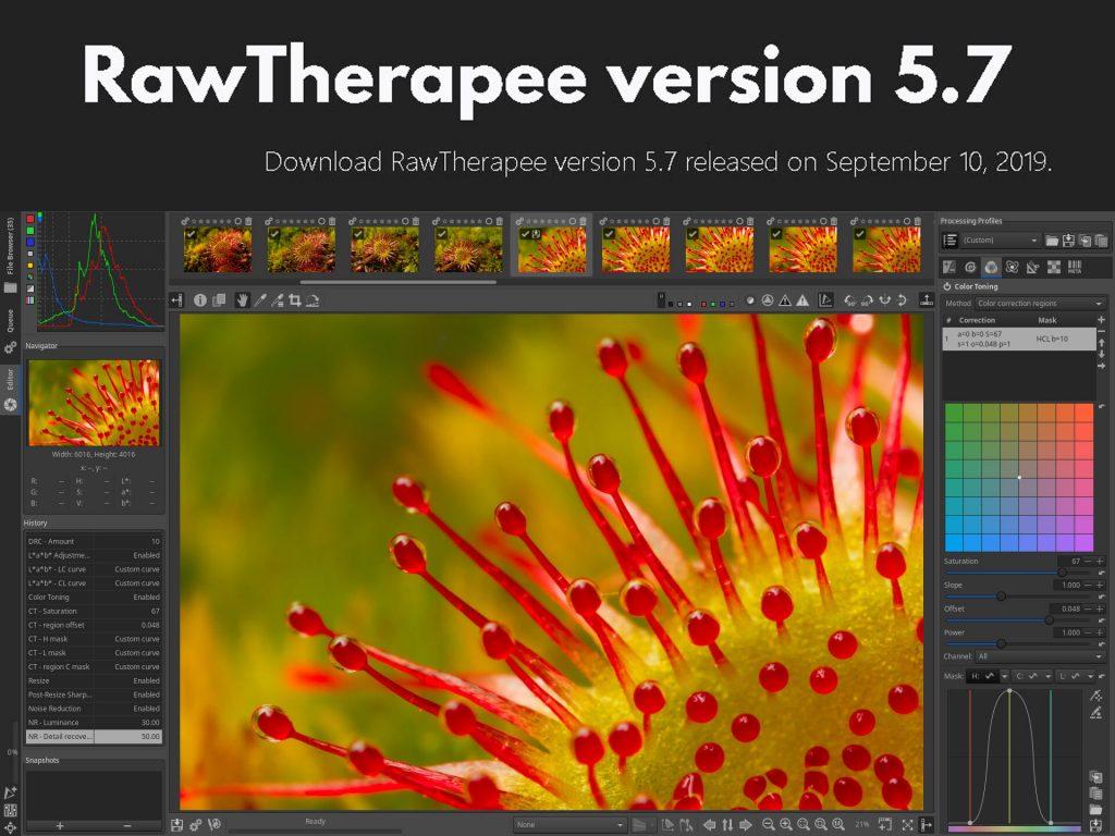 Αναβάθμιση για το δωρεάν λογισμικό επεξεργασίας RAW αρχείων RawTherapee