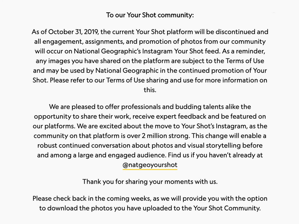 To National Geographic καταργεί τη πλατφόρμα Your Shot