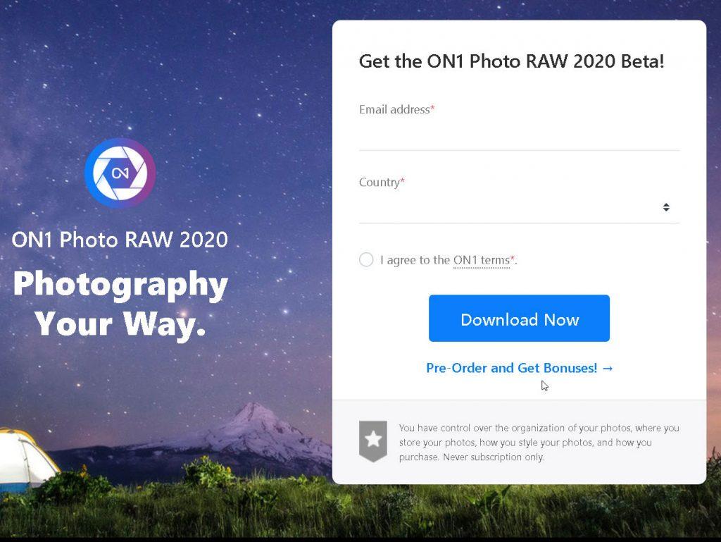 Διαθέσιμο δωρεάν το ON1 Photo RAW 2020 Beta!