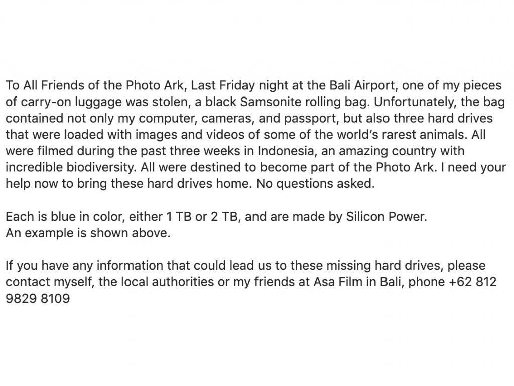Κλάπηκε η τσάντα γνωστού φωτογράφου του National Geographic μαζί με δίσκους που περιείχαν φωτογραφίες σπάνιων ζώων!