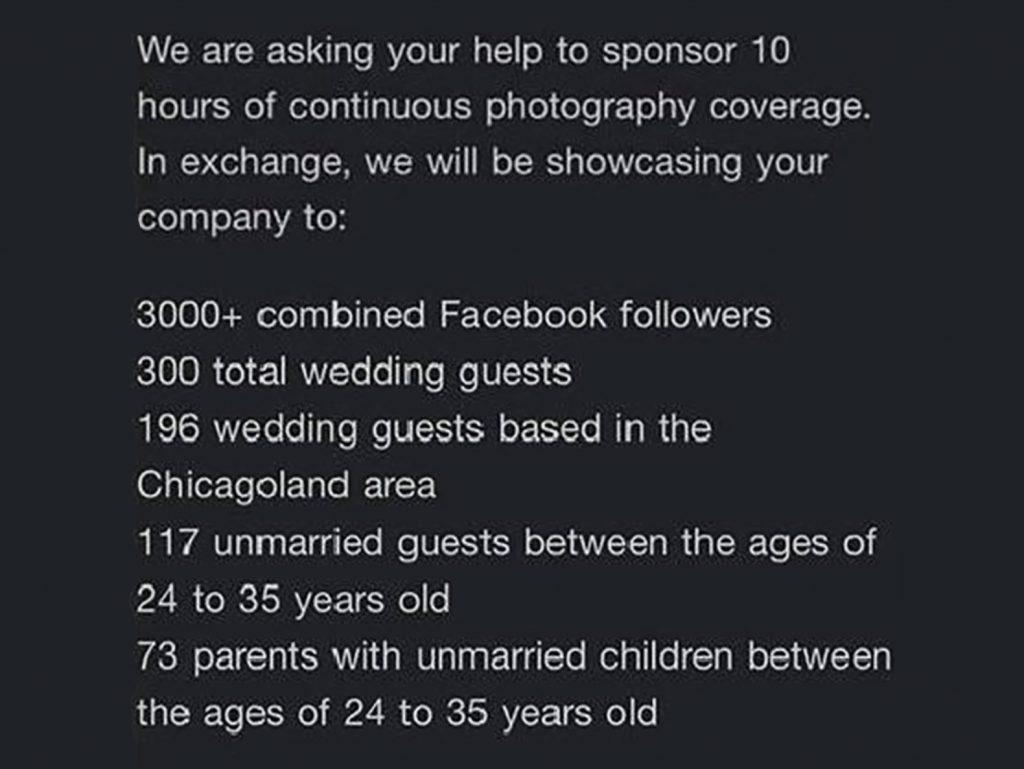 Ζητήθηκε από Φωτογράφο γάμου να φωτογραφίσει δωρεάν γάμο για προβολή (μόλις σε περίπου 3.000 άτομα)!