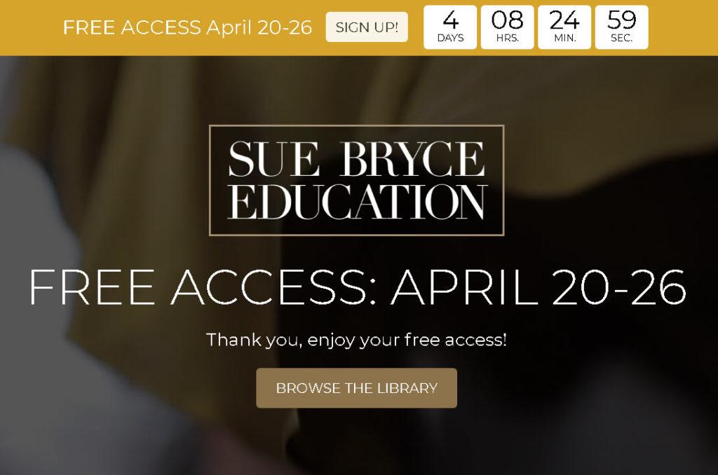Για έξι ημέρες δωρεάν πρόσβαση στα εκπαιδευτικά βίντεο για πορτραίτο της Sue Bryce