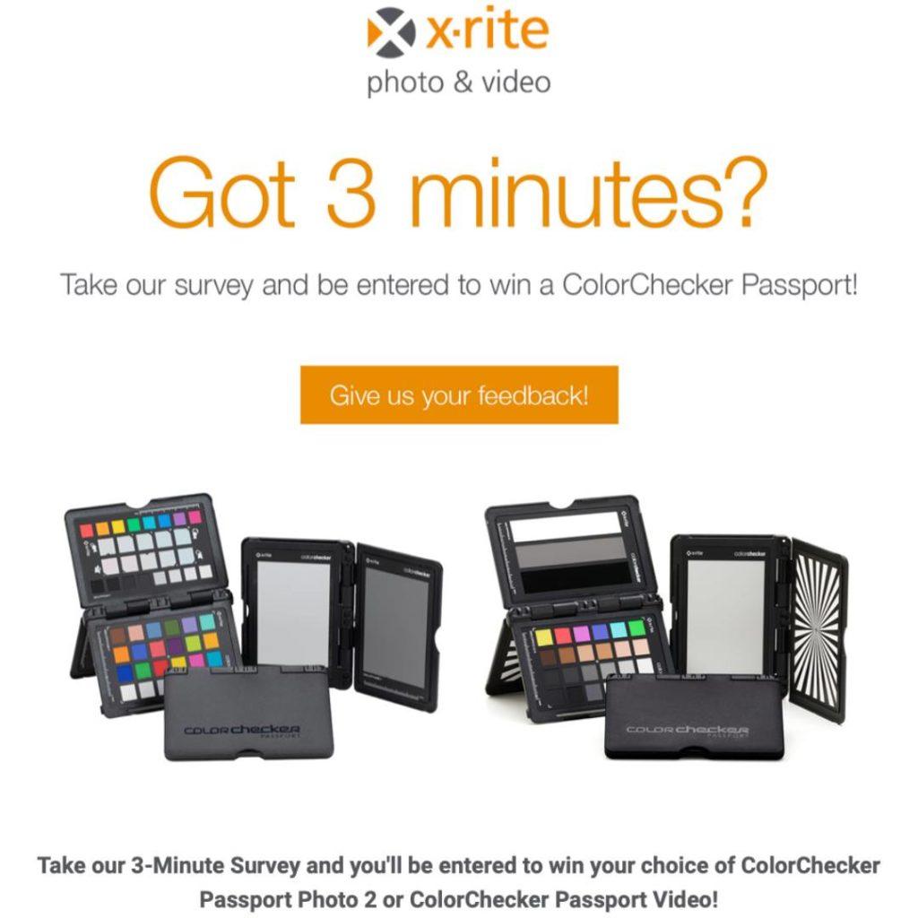 X-Rite: Συμπληρώνεις ερωτηματολόγιο, μπορεί να κερδίσεις ένα ColorChecker Passport Photo 2 ή ένα ColorChecker Passport Video