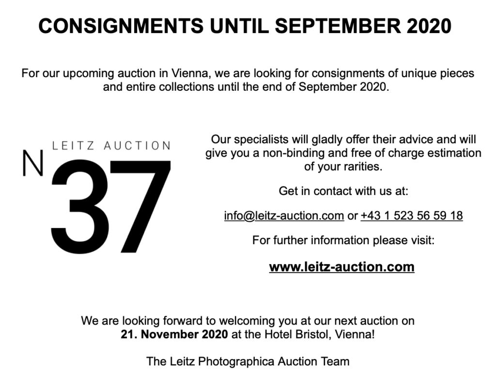 37th Leitz Photographica Auction: Θα γίνει στις 21 Νοεμβρίου, αναζητούνται κάμερες και φακοί!