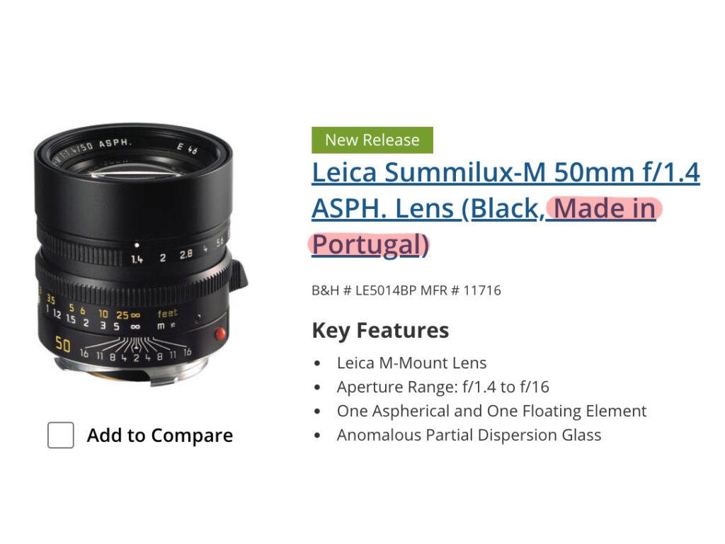 Leica: Ανακοίνωσε ότι 9 φακοί της θα κατασκευάζονται ΚΑΙ στην Πορτογαλία λόγω Τραμπ!