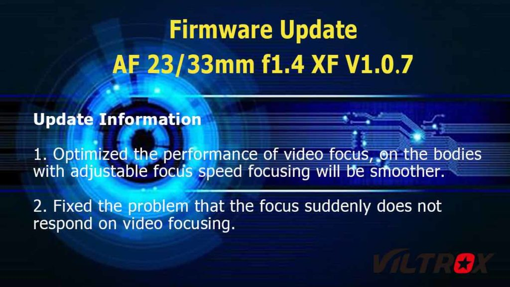 Viltrox: Νέα Firmware για τους φακούς 23mm F1.4 και 33mm F1.4 για Fujifilm X