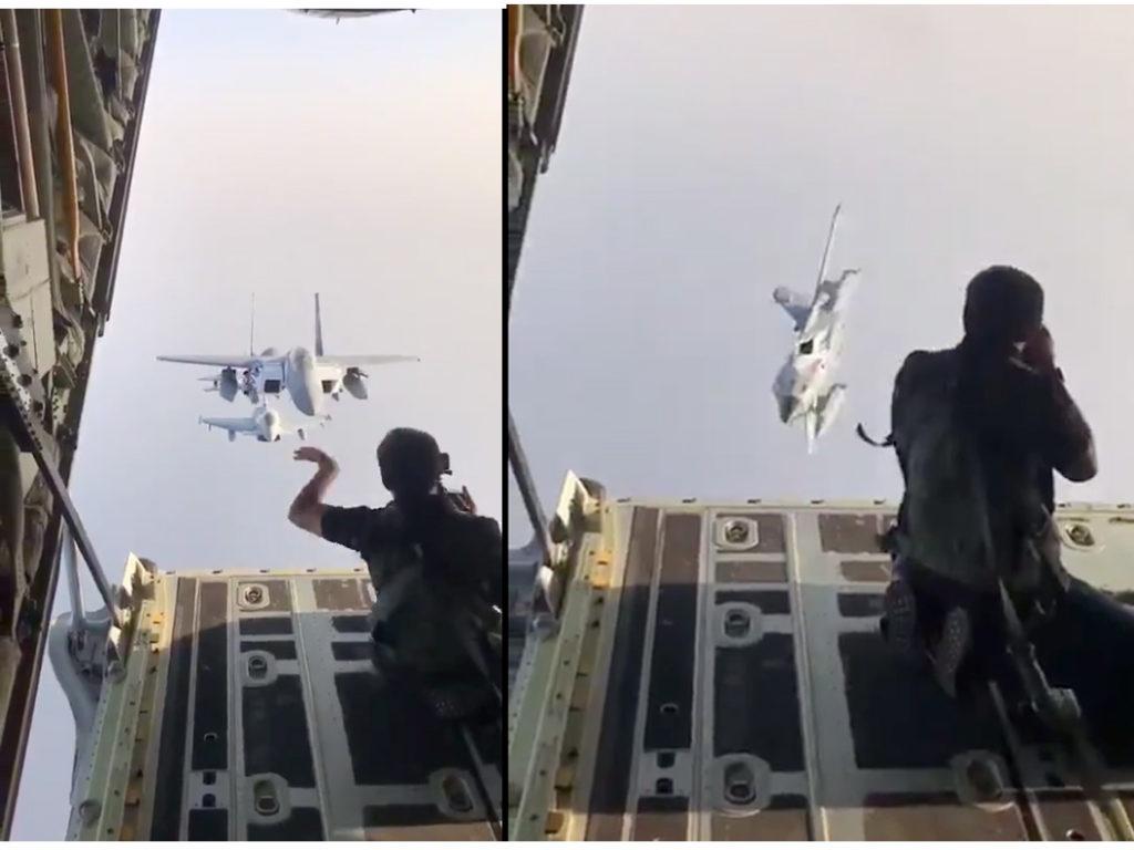 Βίντεο δείχνει φωτογράφο να κατευθύνει μαχητικά αεροσκάφη με τα χέρια του κατά τη διάρκεια φωτογράφισης στον αέρα!