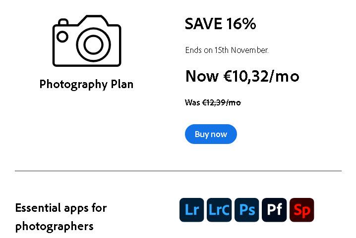 Adobe: Έκπτωση -16% για το Photography Plan, απέκτησε το με μηνιαία συνδρομή 10,32 ευρώ