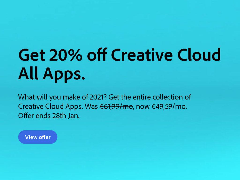 Adobe: Έκπτωση 20% στο πλήρες πακέτο του Adobe Creative Cloud!