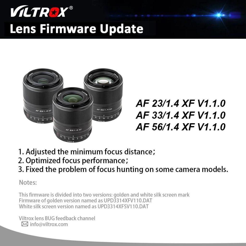 Αναβάθμιση Firmware για τους φακούς Viltrox 23mmF1.4, 33mmF1.4 και 56mmF1.4