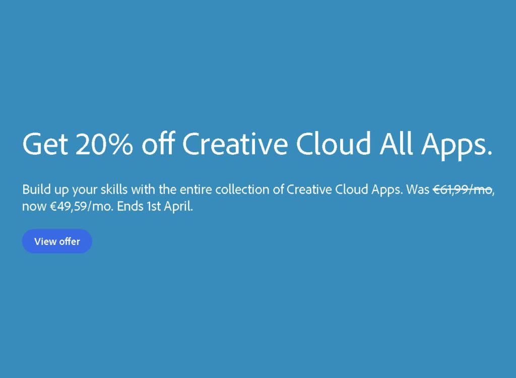 Adobe: Έκπτωση 20% στο πακέτο με όλες τις εφαρμογές