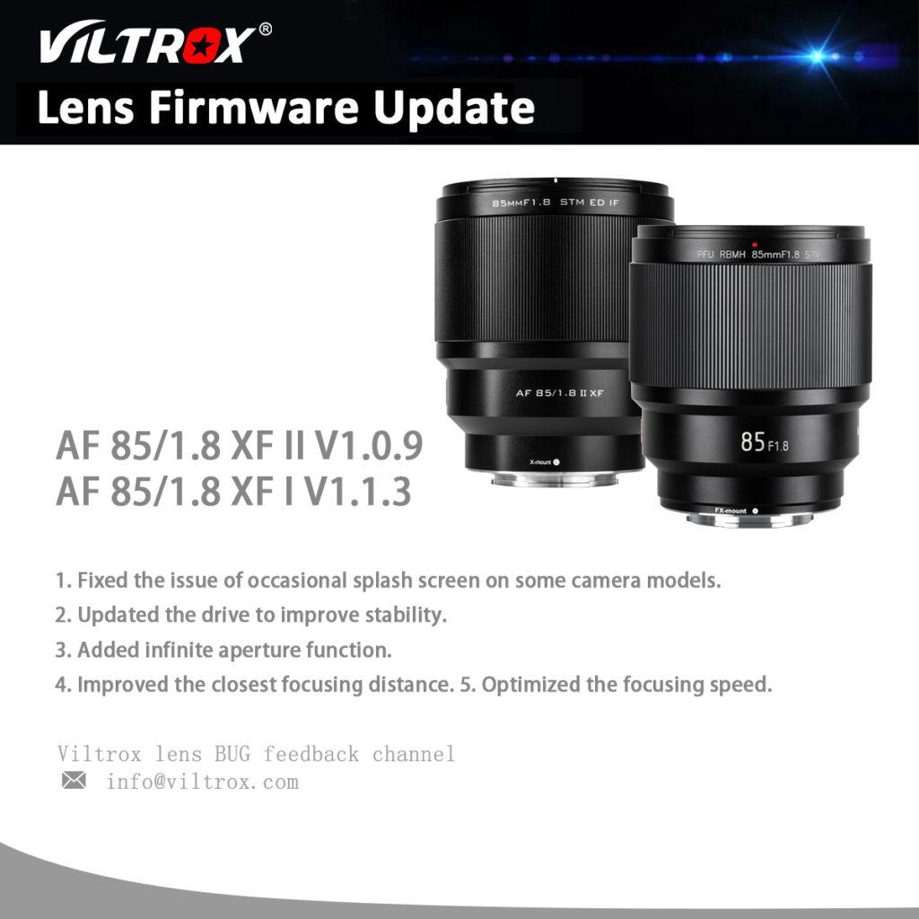 Αναβάθμιση Firmware για πέντε φακούς της Viltrox!