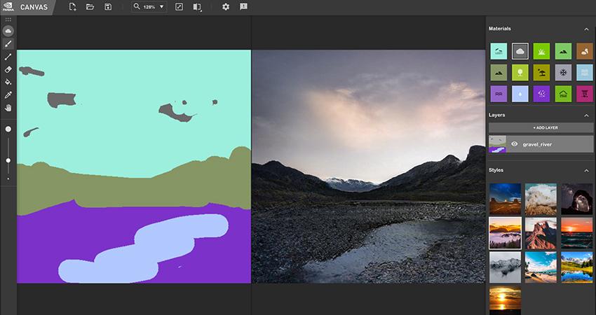 H εφαρμογή NVIDIA Canvas χρησιμοποιεί AI για να μετατρέψει τα σχέδια σας σε «Φωτογραφίες»