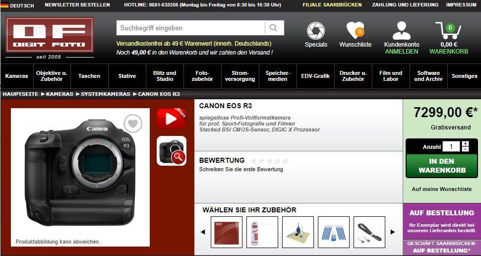 Η τιμή της Canon EOS R3 θα είναι στα 7.299 ευρώ;